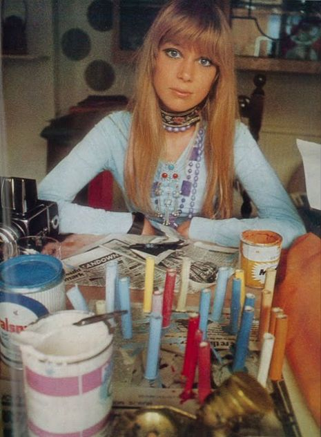 Pattie Boyd Harrison in the journal photo spread about she and George decorating their home Kinfauns in Surrey England - 1968