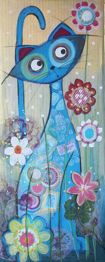 Blue Cat Painting by Johanna Virtanen
