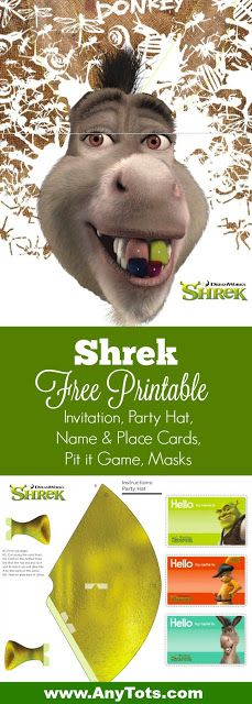 Shrek Birthday Party Printable. Free Shrek Invitation, Free Shrek Place Cards Printable, Free Shrek Pin it Game, Free Shrek Masks. Visit www.anytots.com to print these and more free party printable.