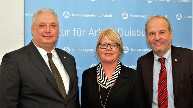 Arbeitsagentur Duisburg: Rainer Bischoff und Frank Börner besuchen Astrid Neese