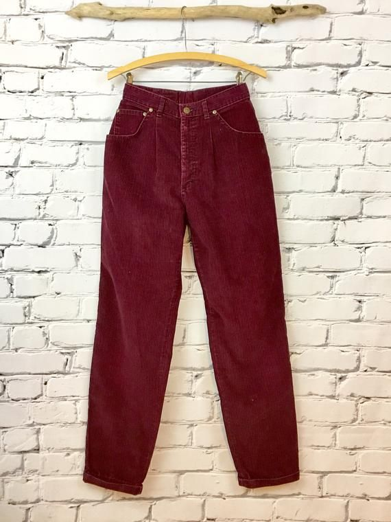 8ad8a8960 Vintage Maroon Red Striped Corduroy Pants