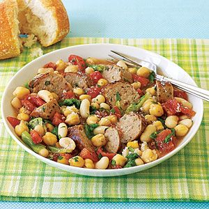 Slow Cooker Sausage with Beans and Escarole