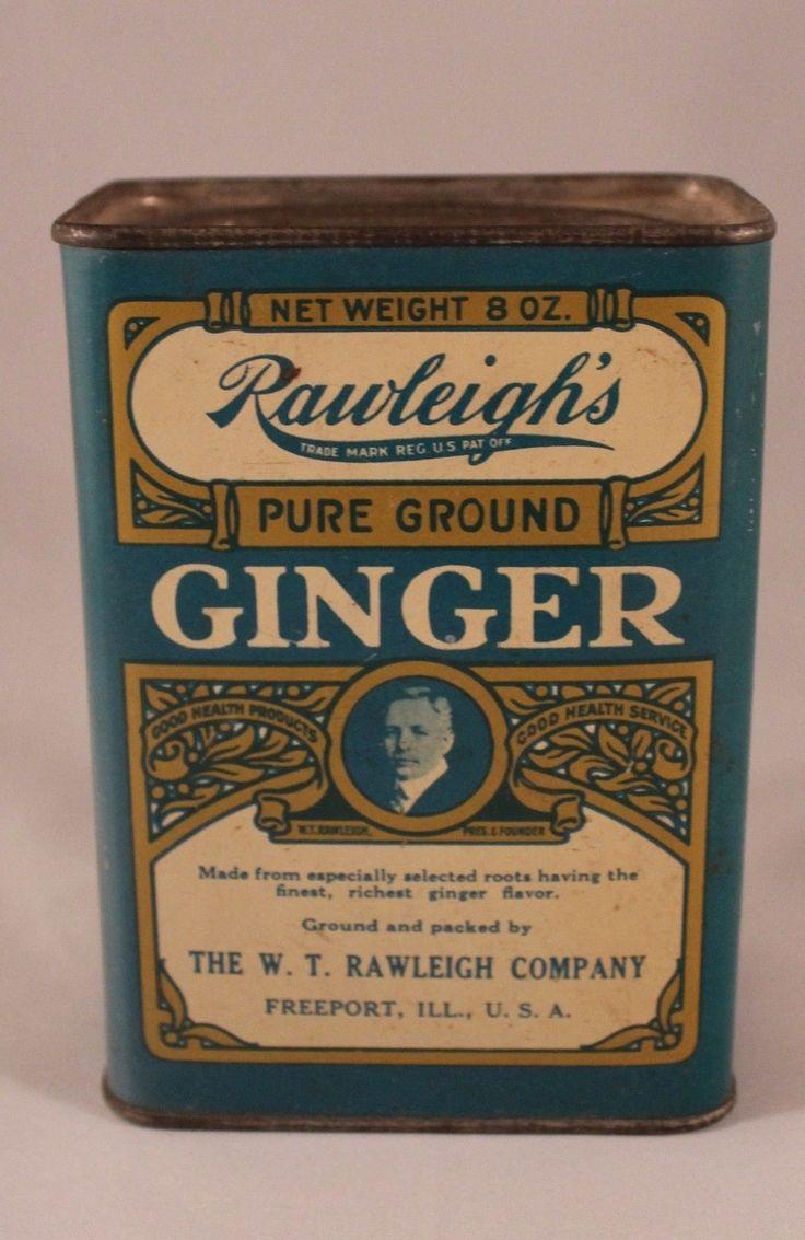Vintage Rawleigh'S Pure Ground Ginger 8 Ounce OZ Spice TIN | eBay
