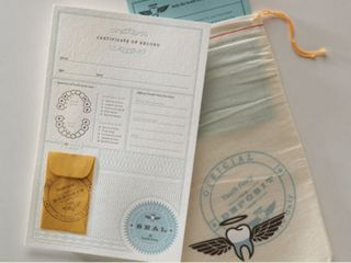 An Official Tooth Fairy Kit from Notion Farm! It comes with a letterpress Certificate of Record for filing with your local Tooth Fairy and one reusable silkscreened cloth deposit bag for your first and all subsequent transactions. The official certificate keeps record of name, age, tooth lost, method of extraction and compensation information...how adorable is this!?