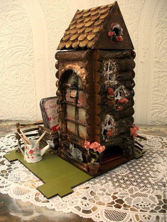 """Купить чайный домик """"Деревенский дворик"""" - коричневый, чайный домик, чайный домик декупаж"""
