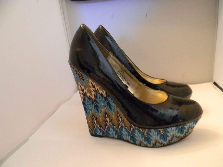 steve madden black patent ballet platform shoes 7 5m with