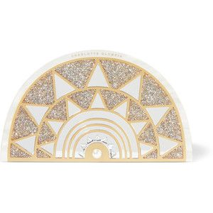 Charlotte Olympia Irona mirror-embellished glittered Perspex clutch
