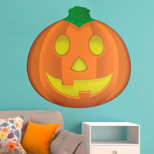 Adesivi Murali: Zucca di Halloween #vinili #emoji #emoticon #decorazione #muro #parete #faccias #animali #StickersMurali