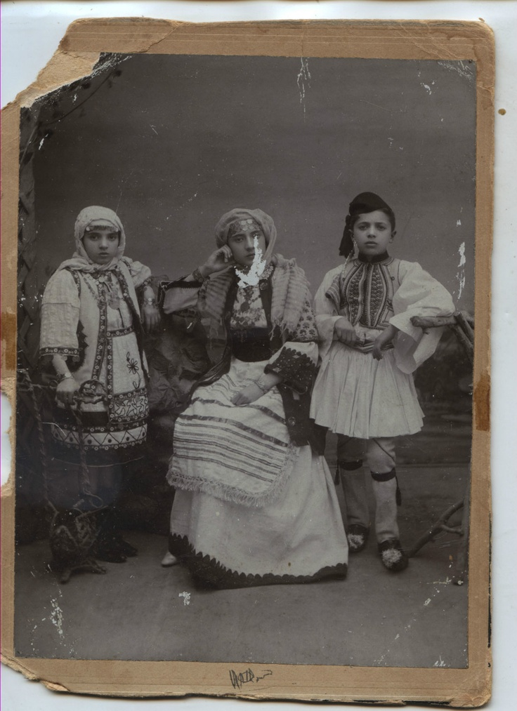 Greece Egypt Cabinet Photo Alexandria 3 Greek Children in Greek Dresses 1908 | eBay