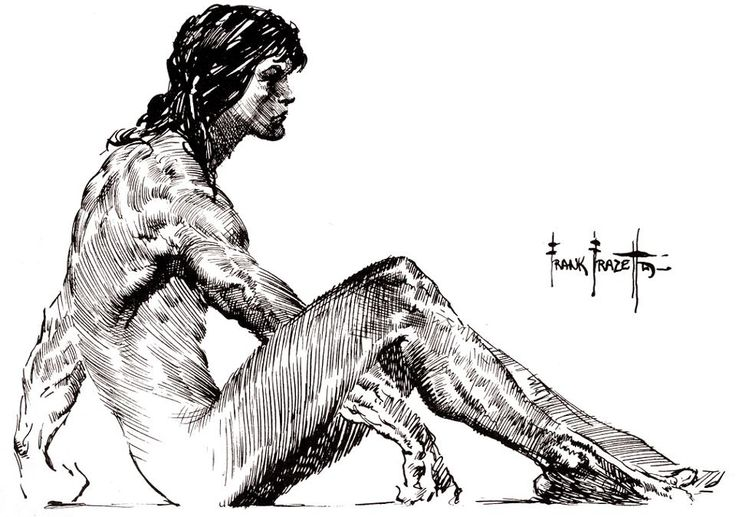 """Young Tarzan, before he acquired his first loincloth from a nearby tribe of Blacks. ~ The large version shows the excellent detail! ~ M.S.M. Gish ~ Artist Frank Frazetta ~ Miks' Pics """"Tarzan of the Apes"""" board @  http://www.pinterest.com/msmgish/tarzan-of-the-apes/"""
