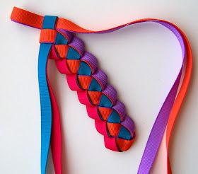 Glue two ribbon ends together on the ends.  Continue the same as two ribbon braid shown below.
