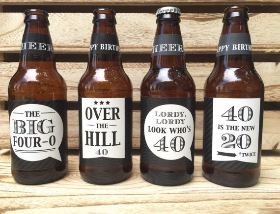 40th Birthday Gift, Over the Hill gift, Custom Beer Bottle Labels, Cheers and Beers to 40 Years, Birthday Card, 40th Birthday Gift for Man