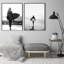 Black White Canvas Poster Ocean Wave Wall Art Human Painting Tropical Plant Posters and Print…