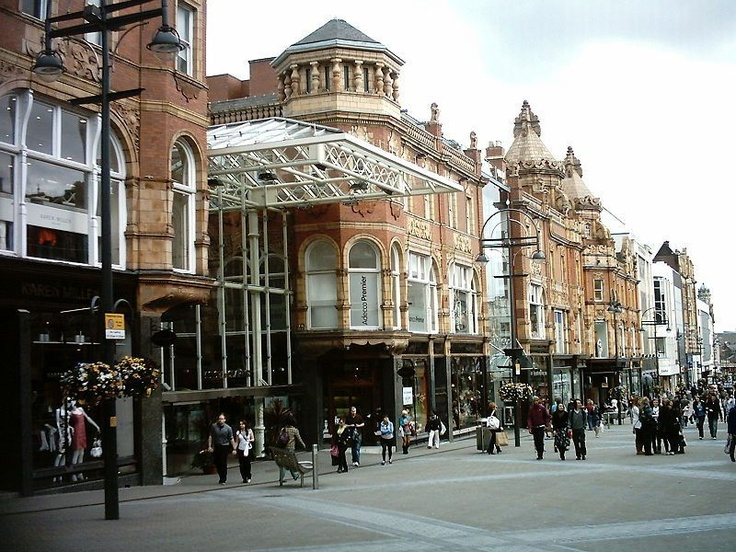 Looking down Briggate, near the top entrance to the Victoria Quarter - Leeds - England