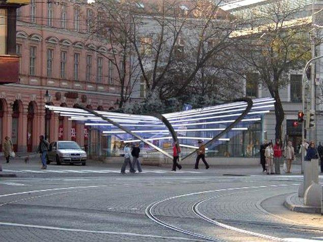 Pavilón na prezentáciu kaplnky na námesti SNP v Bratislave.