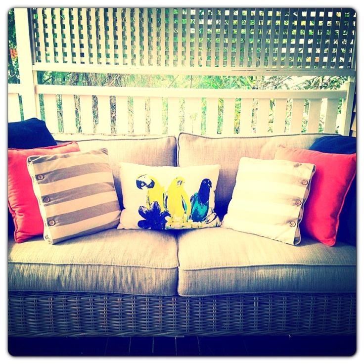 Outdoor living area completed. Happy client. Love those birds!