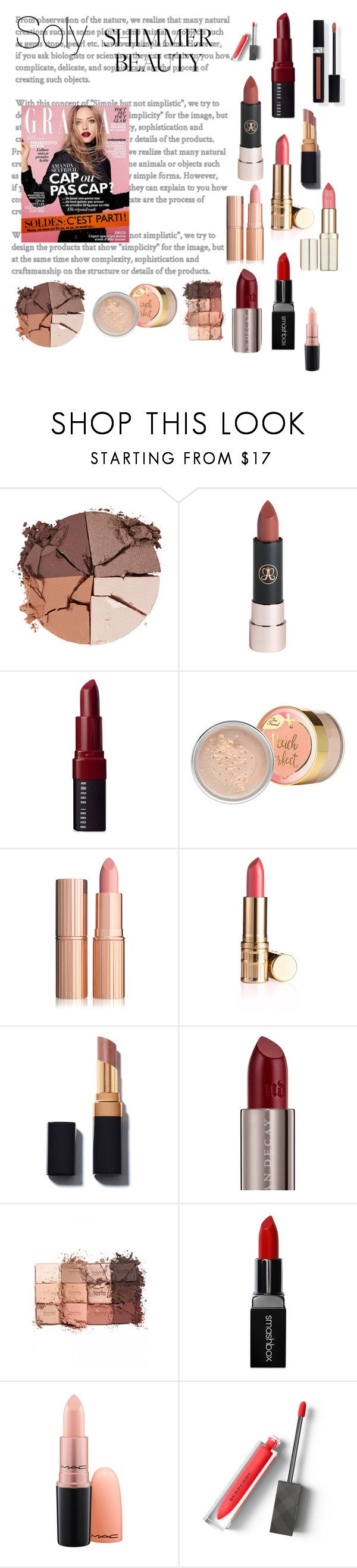"""""""Soly: which lipstick"""" by solyslstore ❤ liked on Polyvore featuring beauty, lilah b., Bobbi Brown Cosmetics, Urban Decay, tarte, Smashbox, Couture Colour and Burberry"""