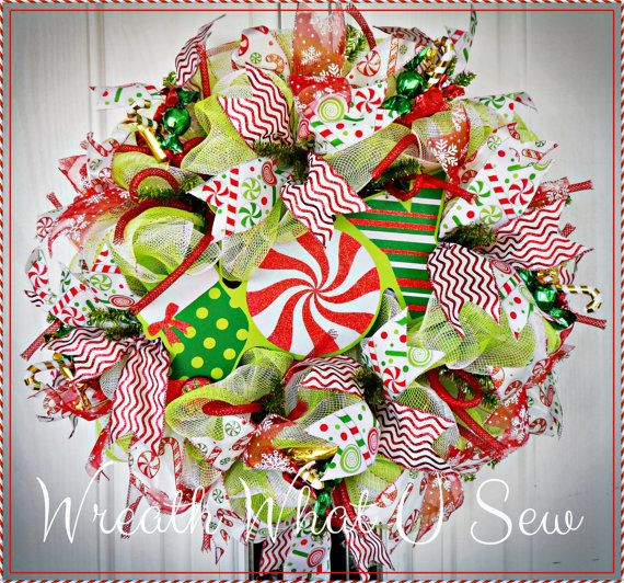 Christmas Candy Wreath Holiday Candy Wreath Red by WreathWhatUSew
