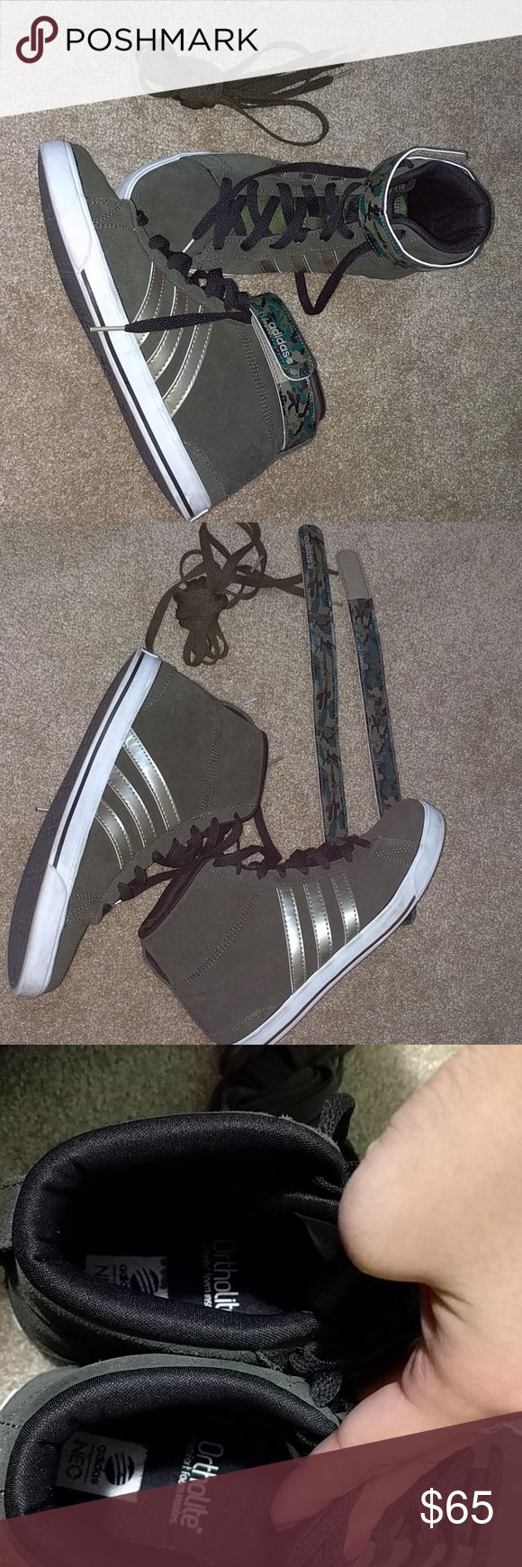 Adidas high top neo ortholite olive green sneakers Gorgeous, worn once and they still look brand new!!! Comes with removable camouflage bands and alternative olive green laces Adidas Shoes Sneakers