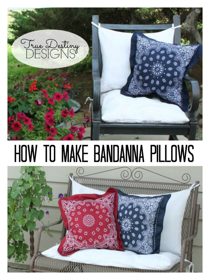 Fourth of July Decor - Bandanna Pillow Tutorial - Toss Pillows - True Destiny Designs #fourthofjulydecor #independencedaydecor #truedestinydesigns