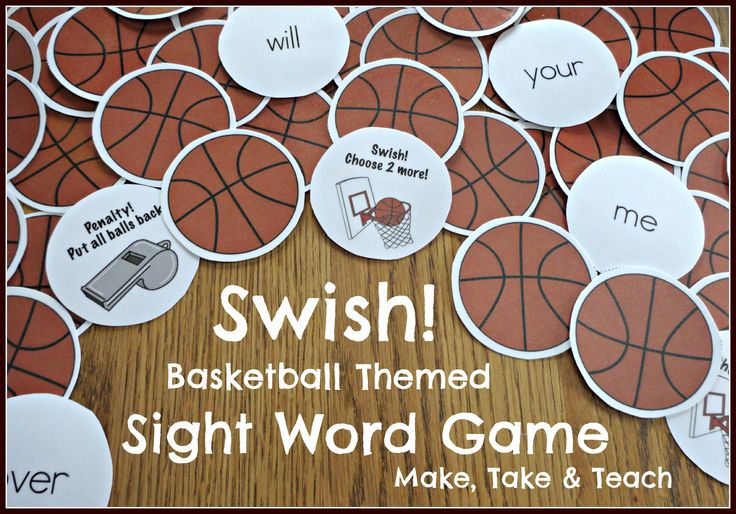 Fun basketball themed activity for learning and practicing sight words.  Your little sports-minded kiddos will love this game!