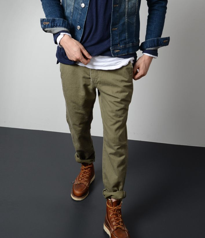 Nice outfit. Blue denim with kakhi pant and brown shoes. Simple. Efficient