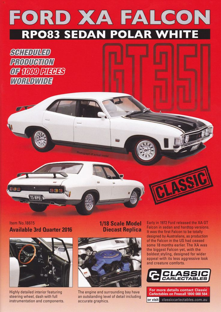 1:18 scale Ford XA Falcon RPO83 Sedan in Polar White. Model features opening doors, boot and bonnet to reveal detailed engine. Comes with certificate of authenticity. Scheduled Production of 1000. Due the 3rd quarter of 2016