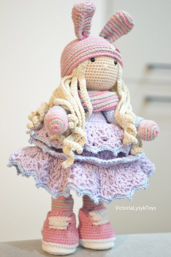 Crochet Tilda Doll Giselle In Bunny Hat Amigurumi Girl Art Toy