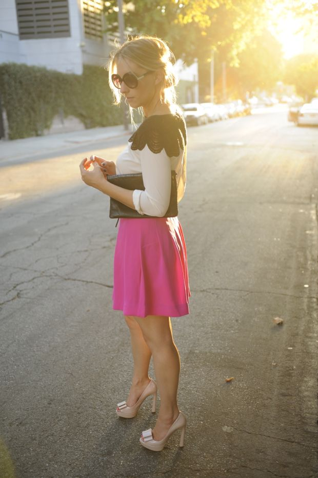 : Black Lace, Blouses, Lace Tops, Bibs Lace, Diamonds, Outfit, Club Monaco, Cupcakes And Cashmere, Hot Pink Skirts