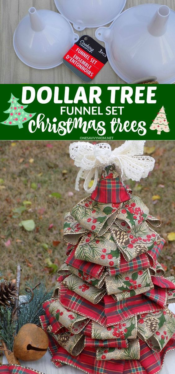 DIY Dollar Tree Funnel Set Christmas Trees - Ribbon and a $1 3 piece