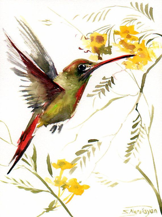 Hummingbird original watercolor painting 12 X 9 in by ORIGINALONLY, $25.00