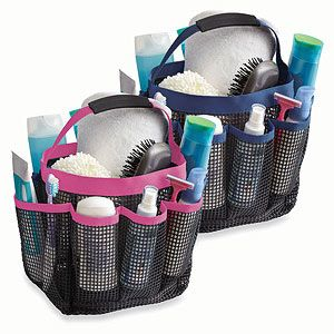 Our kids have these and they work great for keeping clutter out of the bathroom!  This tote can hold bath essentials and weather hot water. $12.99 #backtoschool http://www.familycircle.com/teen/college/dorm-gear/#page=6