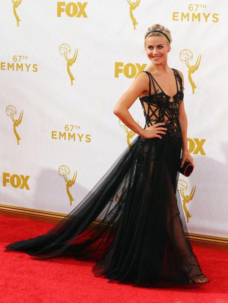 Julianne Hough in black sexy dress by Marchesa