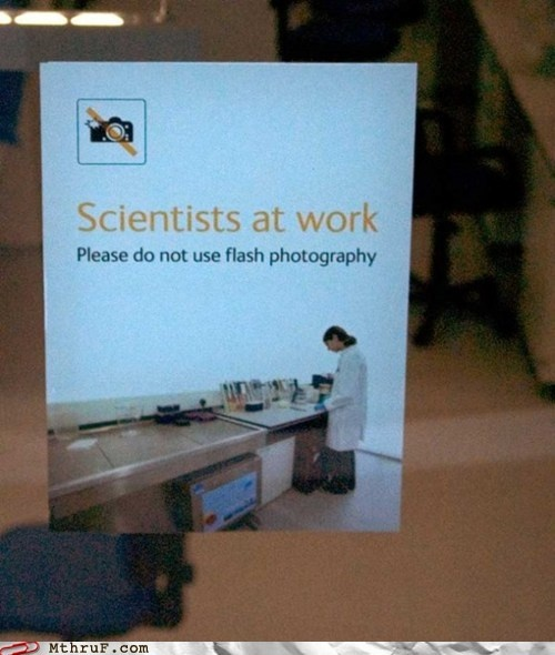 'Cause it scares the scientists! I need to post this at work ... hehehe: Work, Habitat, The Scientist, Classroom Science, Scientists, Flash Photography