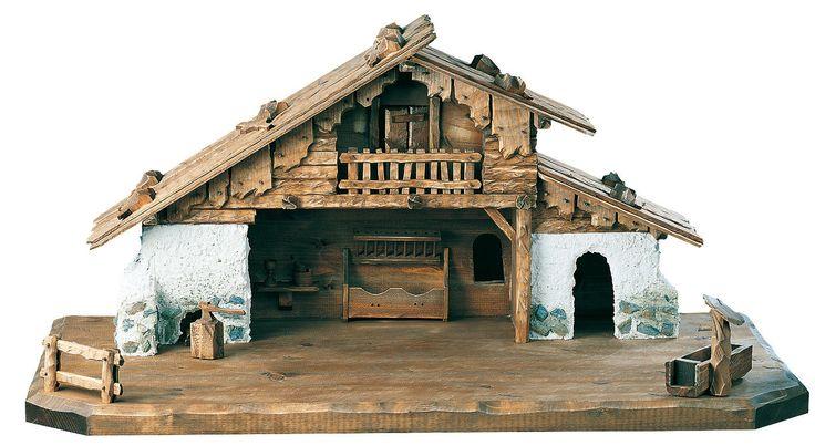 Nativity Stable by Bernardi - Alpine barn with stonework - Manger Scenes