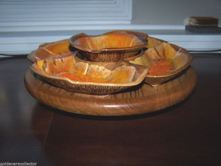 Mid Century Californina Pottery Lazy Susan Wood Turntable EX Condition Numbered #CALIFORNIAPOTTERY