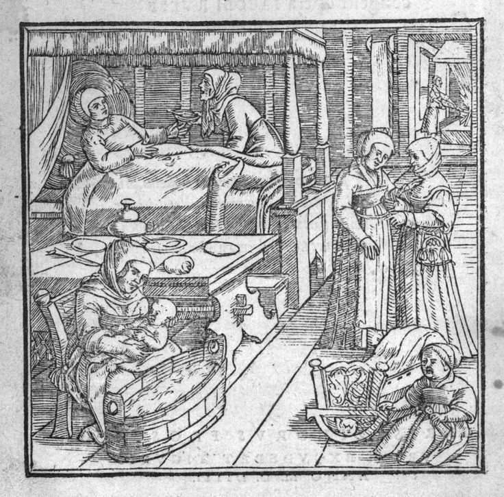 histoire de l'accouchement   La chambre de la mère juste après l'accouchement] - De conceptu et ...
