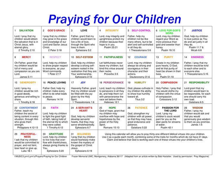 prayer calendar for children - the link for this is gone, but I did find this website with 31 biblical virtues to pray for our children & it is very similar in the prayers   http://www.reviveourhearts.com/articles/31-biblical-virtues-to-pray-for-your-children/