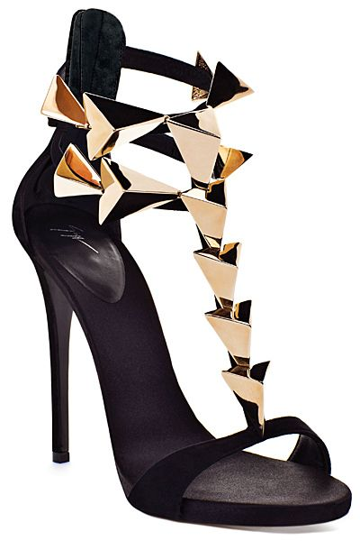 Guiseppe Zanotti Embellished Gold Spike T-Strap Sandals A/W 2012