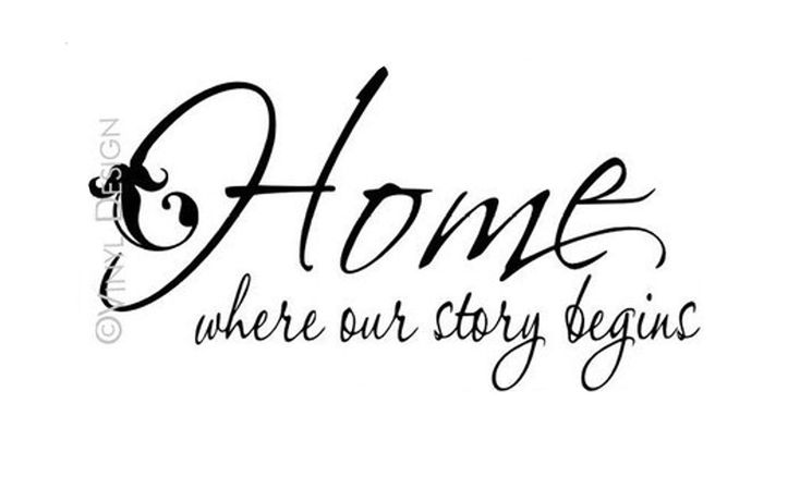 Wall Decal Family Quote Home where our story begins by LaLeni. , via Etsy.
