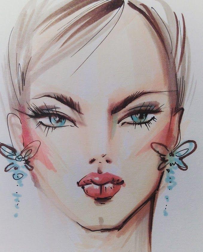 Рисунок скетч маркерами. Модная иллюстрация. Лицо девушки.
