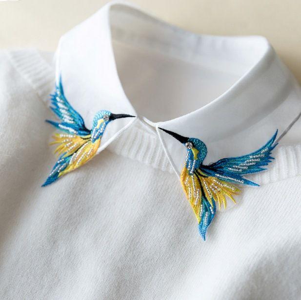 Encaje de encaje hongo collar medio-largo pájaro Pesado color bordado collar collier femme chaleco blusa cuello falso