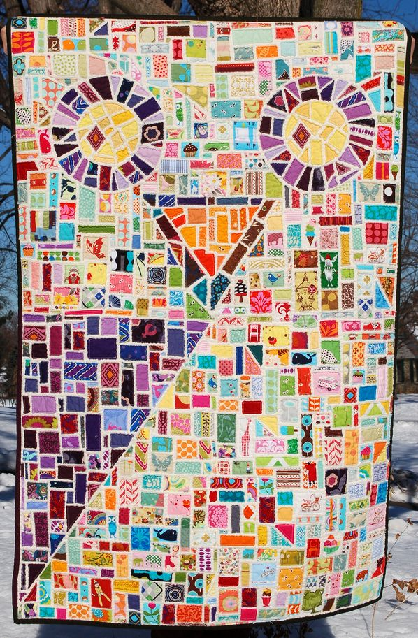 This is a quilt, but I can see it as a paper collage easily. Or a glass mosaic.