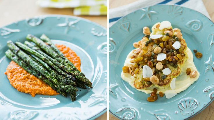 Wine Spectator offers 2 kosher, vegetarian, healthy recipes—asparagus romesco and cauliflower with garlic aioli—that are easy to prepare. Plus, scores and tasting notes for 10 recommended kosher wines.