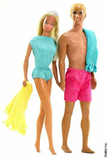 1970s Barbie and boyfriend Ken.  I loved playing with them in the doll house my big sister made for us