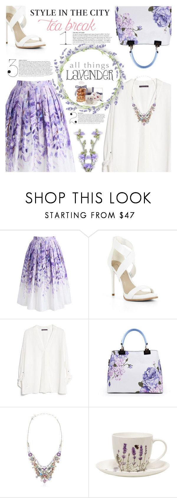 """The Circle of Lavender Tea"" by r-maggie ❤ liked on Polyvore featuring Chicwish, BCBGMAXAZRIA, MANGO and Ayala Bar"