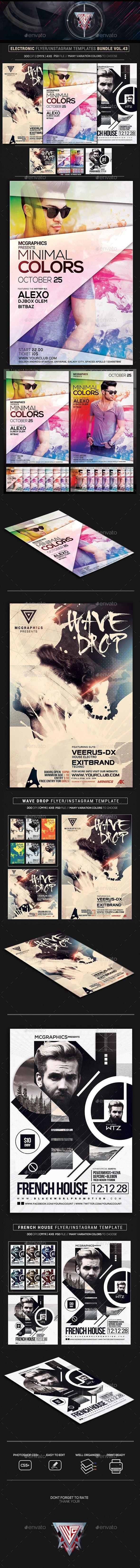 Electro Music #Flyer/Instagram Bundle Vol. 44 - Print #Templates Download here: https://graphicriver.net/item/electro-music-flyerinstagram-bundle-vol-44/20272460?ref=alena994