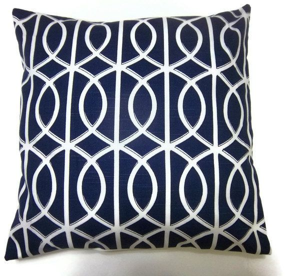 Ordinary Blue And White Pillows Part - 10: Navy Blue White Pillow Covers . . . Living Room Couch?
