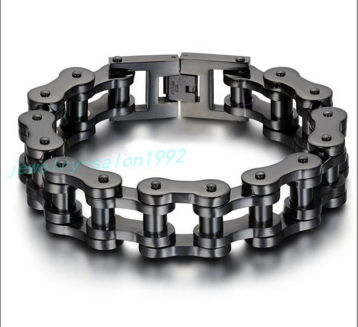 Heavy Gothic Black Motorcycle Biker Chain Stainless Steel For Cool Mens Bracelet