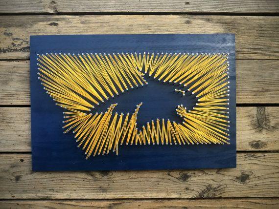 Items similar to Montana State University String and Nail Art - MSU Bobcat Logo MT - Graduation Gift on Etsy